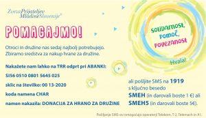 Prošnja za pomoč Zveze prijateljev mladine Slovenije